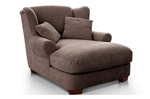 CAVADORE XXL-Sessel Oasis / Großer Polstersessel im modernen Design / Inkl. 2 schöne Zierkissen / 120 x 99 x 145 / Webstoff in taupe