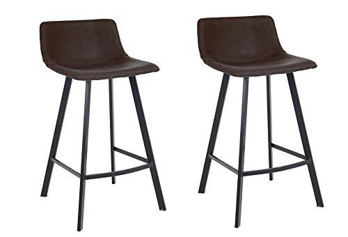 Meubletmoi barkruk, kunstleer, voetensteun, metaal, zwart, hoge stoel, industrieel design, comfortabel, 2 stuks Antraciet grijs.