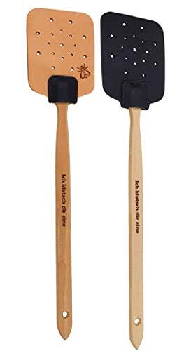 hLine Fliegenklatsche Klatsche aus Leder mit Holzstiel handgemacht mit Spruch (Schwarz+Braun)