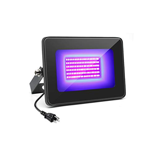 30W UV Flood Light, IP66 Rated, 395nm-405nm Black Lights Fixture with UL Plug (3.3ft Cable) for Blacklight Party, Stage Lighting, Aquarium, Body Paint, Fluorescent Poster