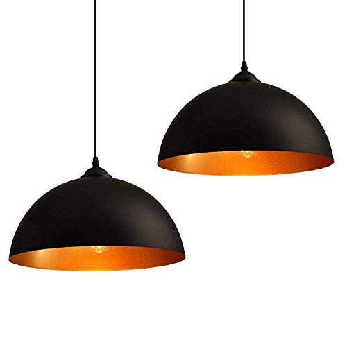 2 x Lámpara de techo, lampara suspensión Industrial Vintage Iluminación de Negro para E27, Φ 30cm Lámpara de metal, ajustable en altura, para Sobremesa salon, Habitacion, Vengadores, Comedor, Oficina