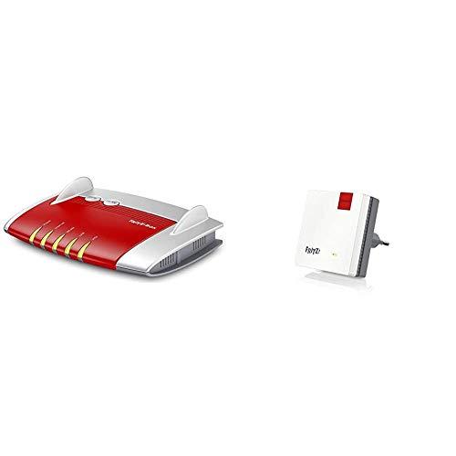 AVM Fritz!Box 4020 WLAN-Router (für den Betrieb an einem Modem am Kabel-/DSL-/Glasfaser-Anschluss) rot/weiß & Fritz!WLAN Mesh Repeater 600 (WLAN N bis zu 600 MBit/s (2,4 GHz), WPS, kompakte Bauweise)