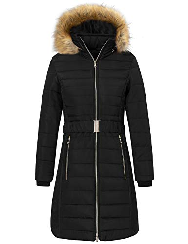 Wantdo Women's Quilted Winter Puffer Jacket Thicken Coat with Belt Black Small