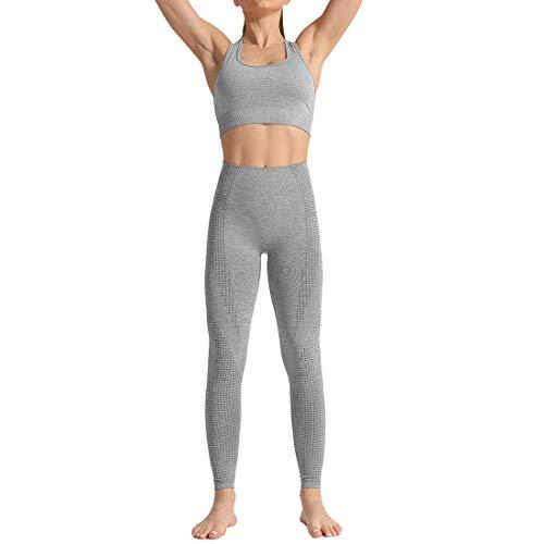 Aiweijia Yoga Conjunto Mujer Ropa Deportiva Parte Superior y Polainas Ejercicio Aptitud Chaleco Ropa de Gimnasia