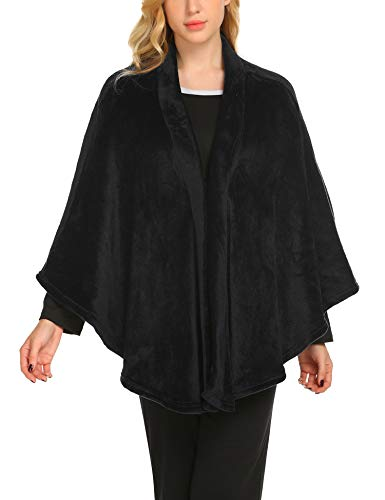 MAXMODA Poncho da donna vintage elegante e calda coperta in pile lavorata a maglia Nero...