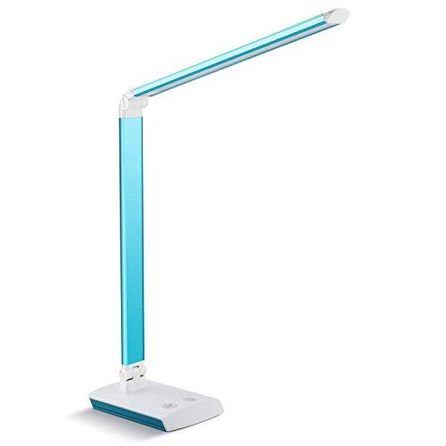 DECKEY 10W LED Schreibtischlampe Tischlampe dimmbare Tischlampe drehbare Bürolampe Leselampe Buchlampe Arbeitslampe 60LEDs (Blau)