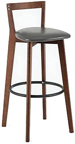 ZJDM Silla de Bar Retro - Taburete Alto para Restaurante de recepción Silla de Bar con Respaldo para el hogar - Taburete de Bar nórdico de Madera Maciza (Color: Gris)