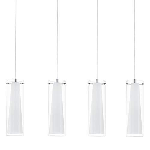 EGLO Pendellampe Pinto, 4 flammige Pendelleuchte, Material: Stahl, Farbe: chrom, Glas: klar, opal matt, weiß, Fassung: E27