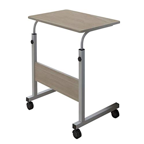 N \ A Height Adjustable Computer Desk, Mobile Laptop Study Table Writing Desk with Roller, Modern Wooden Side Table for Home Office Workstation