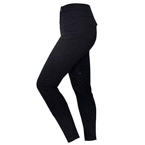 LGMO Hípica Pantalones para Las Mujeres, Ecuestre Competencia de Silicona Calzones Hipódromo Formación Competencia Antideslizante (XS-2XL) Black-XS