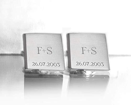 Quadratische Manschettenknöpfe aus Edelstahl, Gravur Initialen und Datum, Schmuck Für Herren
