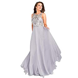 48709A Grey Prom Beaded Evening Dress