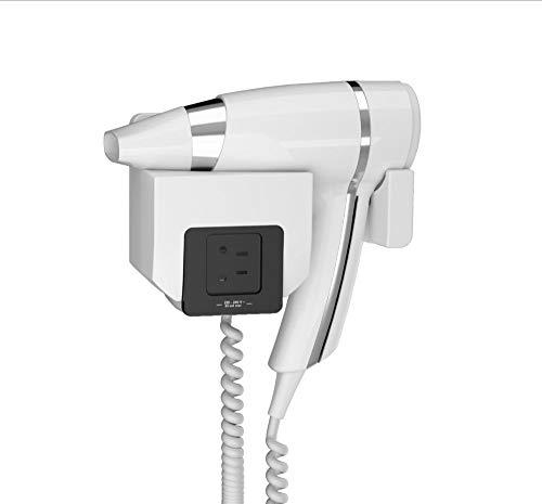 JVD - Sèche-cheveux 1600 W Blanc avec Prise Rasoir monotension Intégré dans Support Mural