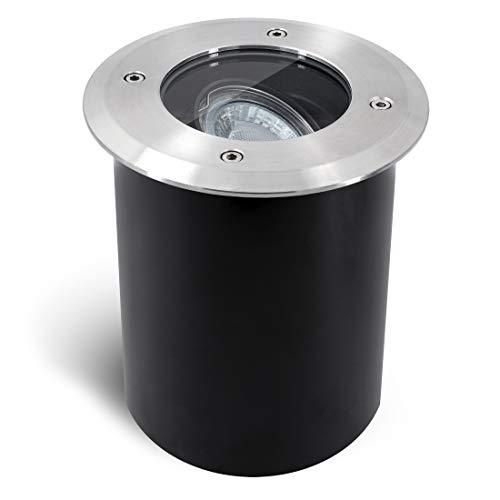 SSC-LUXon JUAVI schwenkbarer LED Bodeneinbaustrahler GU10 IP67 - mit LED GU10 6W warmweiß 230V - Bodenstrahler außen befahrbar