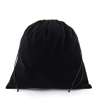 Sanrich Large Black Velvet Pouch Bags With Drawstring 5 Pack -14 x14 INCH Treat Bag Dust Bag For Gift Hair Dryer Hotel Storage Bag Velvet Gym Bags Drawstring Cloth Packing Bag