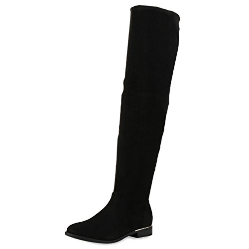 SCARPE VITA Gefütterte Damen Overknees Metallic Winter Stiefel Leder-Optik 151732 Schwarz Gefüttert 41