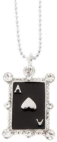 Killer Kirsche Damen Halskette Gambling Glitzerstein Spielkarte Necklace Ca. 1cm x 2cm; Kette 44cm
