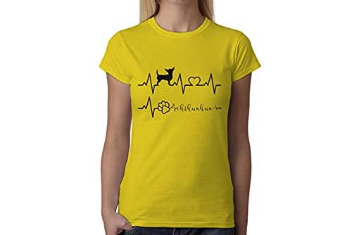 t-shirteria Tshirt electrocardiógrafo Chihuahua–I Love Chihuahua–Perros–Dog–Love–Humor–Tshirt simpatiche y Divertidos, Amarillo, M
