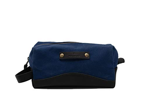 Canvas and Leather Toiletry Bag   Travel Dopp Kit...