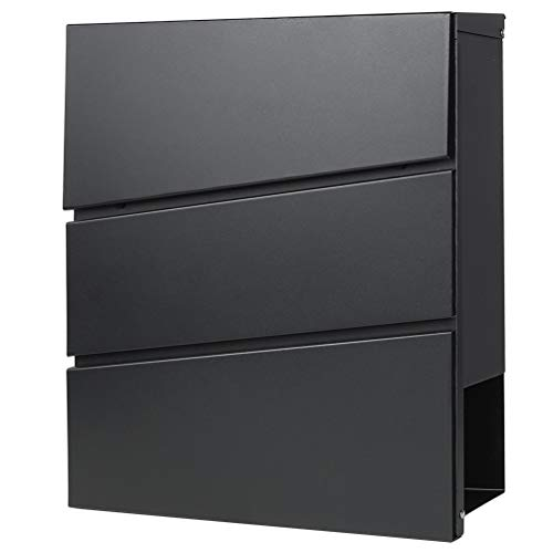 """Decaller Metal Wall Mounted Mailboxes with Key Lock, Large Mail Box with Newspaper Compartment, Black, 13"""" x 14 2/5"""" x 4 1/5"""""""