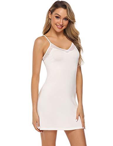 Aibrou Damen Unterkleid Spitze Nachthemd Sexy Negligee Kurz Nachtkleid einfarbig Nachtwäsche Baumwolle Trägerkleid Reizwäsche Lingerie Sleepwear Kleid Dessous für Damen Weiß L