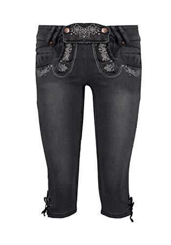 Hailys Damen Capri Jeans Trachten Hose Lederhose Oktoberfest (L, Black Denim)