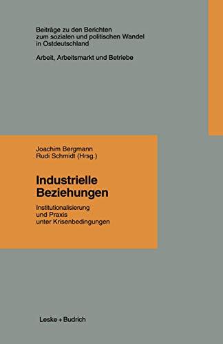 Industrielle Beziehungen: Institutionalisierung und Praxis unter Krisenbedingungen (Beiträge zu den Berichten der Kommision für die Erforschung des ... in den neuen Bundesländern e.V. (KSPW), 1.3)