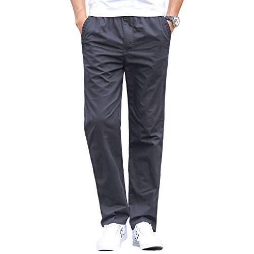 Gmardar Pantalones Hombre Pantalón Casual para Hombre de Algodón con Bolsillos Laterales y Cinturón Ajustable (Gris Oscuro, 34-36)