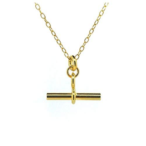 T Bar Necklace 18ct Gold Vermeil 2cm Albert Pendant Chain (16)