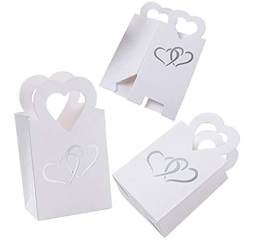 FUNNY HOUSE 100 Pezzi Scatole Portaconfetti Bomboniere Carta con Manico Cuore Scatoline Regalo Decorazioni per Festa Matrimonio Battesimo Compleanno(Bianco)