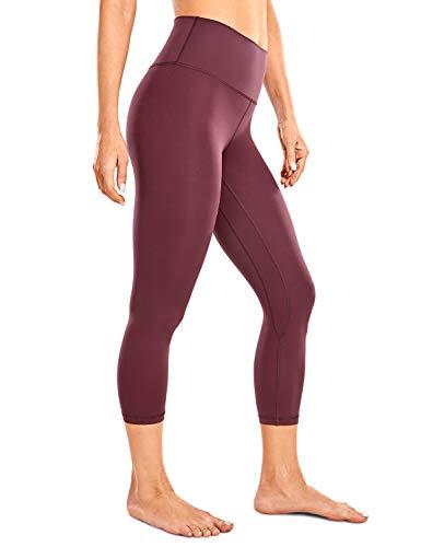 CRZ YOGA Women's Naked Feeling Soft Yoga Leggings 21 Inches - Yoga Capris High Waisted Workout Pants Yoga Crop Dark Russet Large