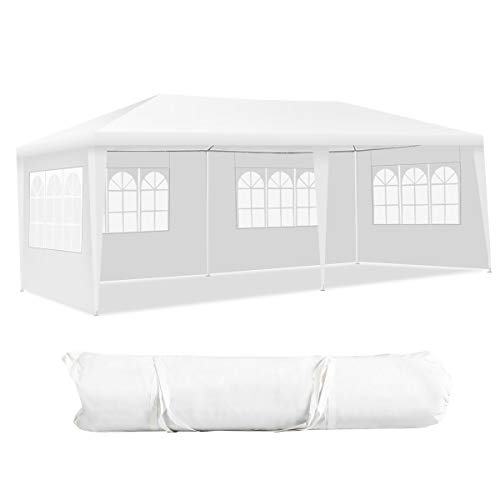 COSTWAY 3x6M Garden Gazebo with 4 Side Panels and Carry Bag, Outdoor Waterproof Camping Marquee Tent Wedding Party Events Canopy Shelter