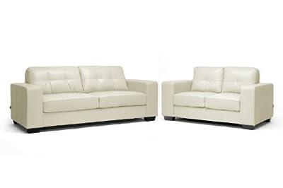 Baxton Studio Whitney Modern Sofa Set, Ivory Leather