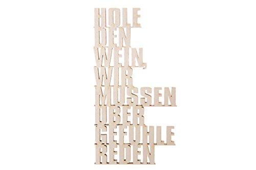 3DTYPO - made by NOGALLERY - Hole den Wein, wir müssen über Gefühle reden  - 3D Schriftzug, hellgrau,  21 x 11,2 cm