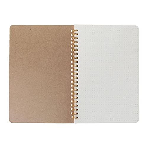 Nuevo cuaderno A5 Kraft Dot GRID Gestión de tiempo en blanco Libro en blanco Diario de espiral Planeador Semanal Escuela Suministros de oficina (Color : A)