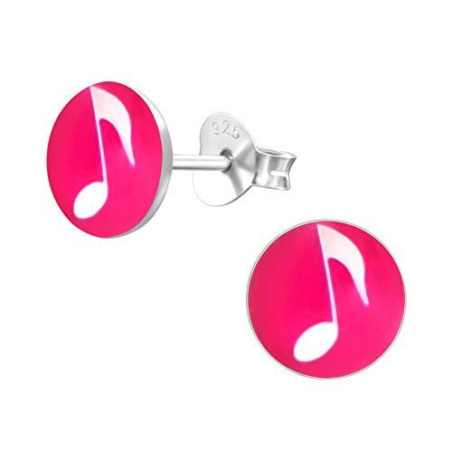 Laimons - Orecchini da bambina per bambini, in argento Sterling 925, nota musicale, con disco rosa