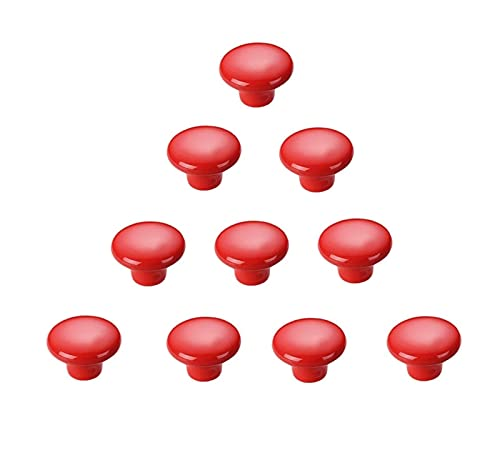 HYZXK 10 Piezas de Perilla de cajón de un Solo Orificio Redondo Color Cerámica 30 mm Manija Armario Puerta del gabinete Manija del cajón Habitación de los niños Tirador pequeño con torni