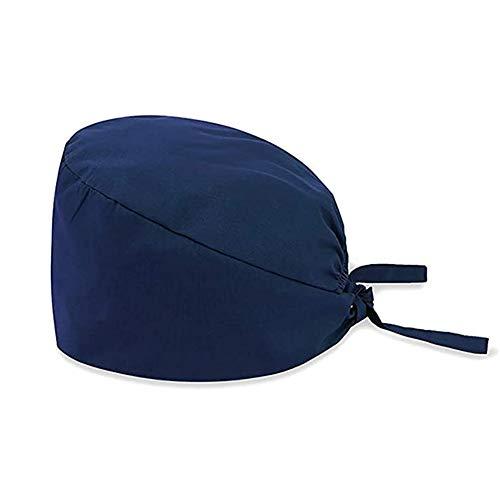 Surgical Hat Doctor Nurse Scrub Cap Solid Color Dentist Cap Beautician Cap Unisex Cotton Cap with Elastic Closure Navyblue 2213cm