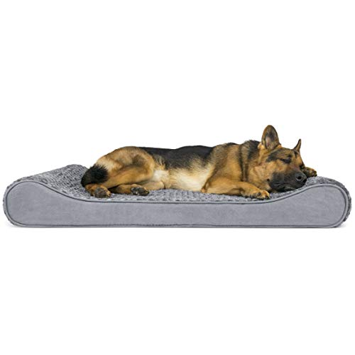 Furhaven Pet Dog Bed – Orthopedic Ultra Plush Faux Fur Ergonomic Luxe Lounger Cradle Mattress Contour Pet Bed with Removable Cover for Dogs and Cats, Gray, Jumbo