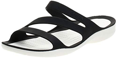 crocs 203998, Chanclas Mujer, Negro (Black/White), 37/38 EU (W 7 US)