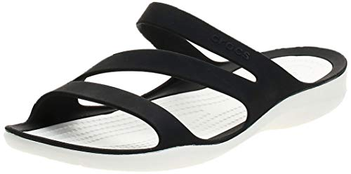 Crocs Damen Swiftwater Sandal Zehentrenner, Schwarz (Black/White 066), 38/39 EU