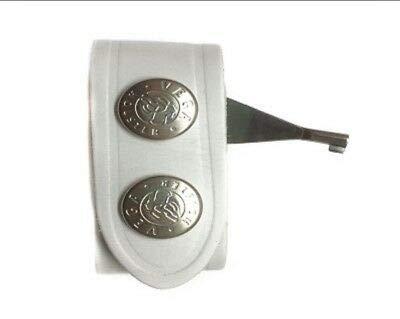 Espacial de piel Vega Holster 1V02 con llave esposas doble botón blanco