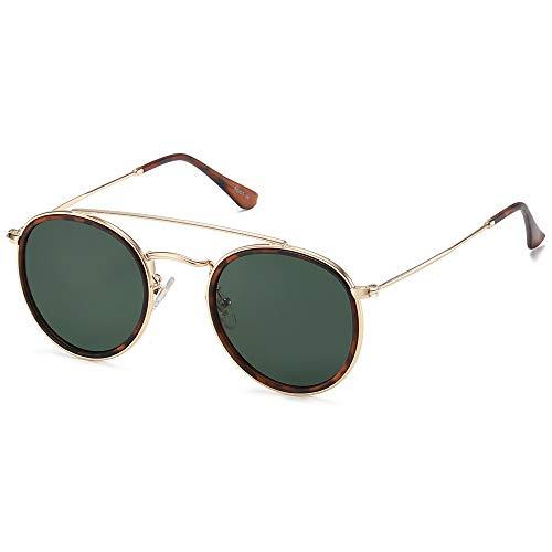 SOJOS Small Retro Round Polarized Sunglasses UV400 Double Bridge Sunnies SUNSET SJ1104 with Gold Frame/Matte Tortoise Rim/G15 Lens