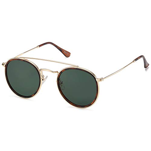 SOJOS Small Retro Round Polarized Sunglasses UV400 Double Bridge Sunnies SUNSET SJ1104 with Gold Frame/Matte Tortoise Rim/G15 Lens