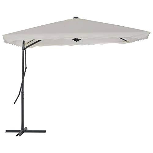 Festnight Parasol Excéntrico Puede Rotar 360 Grados, Apto como Parasol para Jardín o Sombrilla, 250 x 250 x 230cm Arena