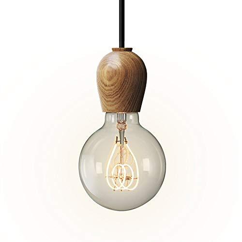 Decoración Hogareña Iluminación Colgante Lámpara de araña, accesorio Lámpara de madera de una sola cabeza Nordic Creative Restaurant Luz de techo Lámpara colgante ajustable Cadena, techo Cafe Decoraci