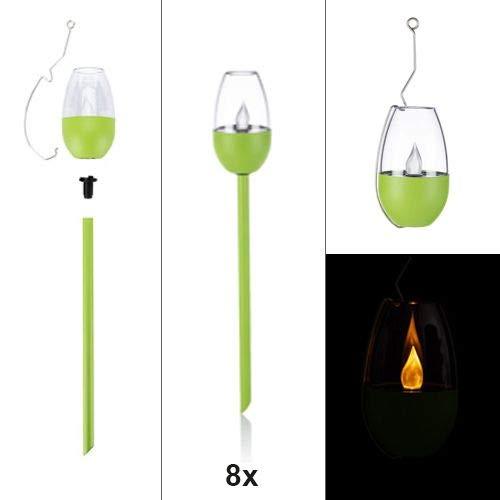8er Set LED Solar Fackel mit Flammeneffekt, 3 in 1 Gartenleuchten - Edelstahl, Grün und Kupfer (Grün)