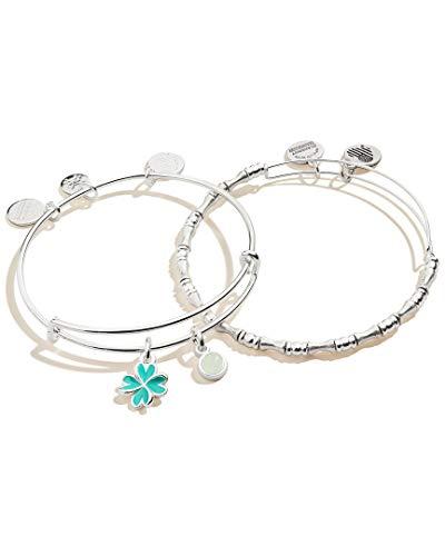 Alex and Ani Duo Charm Bangle Bracelet, Set of 2 Four Leaf Clover One Size, Shiny Silver