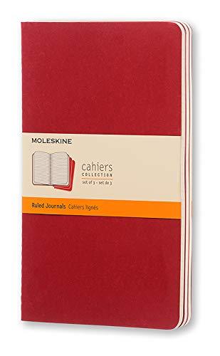 Moleskine Quaderno Cahier Journal, Righe, Rosso, 3 Pezzi