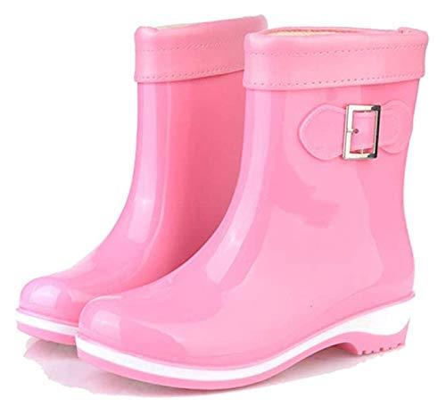 Botas de Lluvia otoño/Invierno Hebilla Dulce Color Rosa Antideslizante algodón Botas de Lluvia Moda Zapatos Casuales Zapatos Calientes Planos Planos Botas en el Tubo Color sólido Antideslizante jale